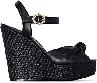 Luxury Fashion | Dolce E Gabbana Women CZ0219AA70380999 Black Leather Wedges | Season Outlet