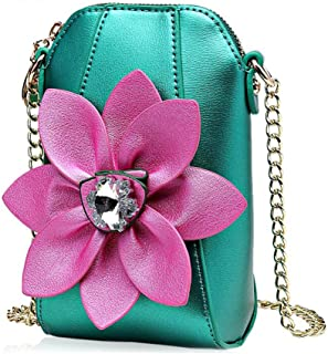 Nice Pies Crossbody Wallet Pouch Purse Shoulder Phone Purse - Women PU Leather Flower Cross Body Handbags with Adjustable Strap