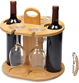 Wine Bottle Holder Glass Cup Rack w/Handle Free Wood Handle Corkscrew - Wine Organizer Bamboo Stand Countertop Tabletop Display