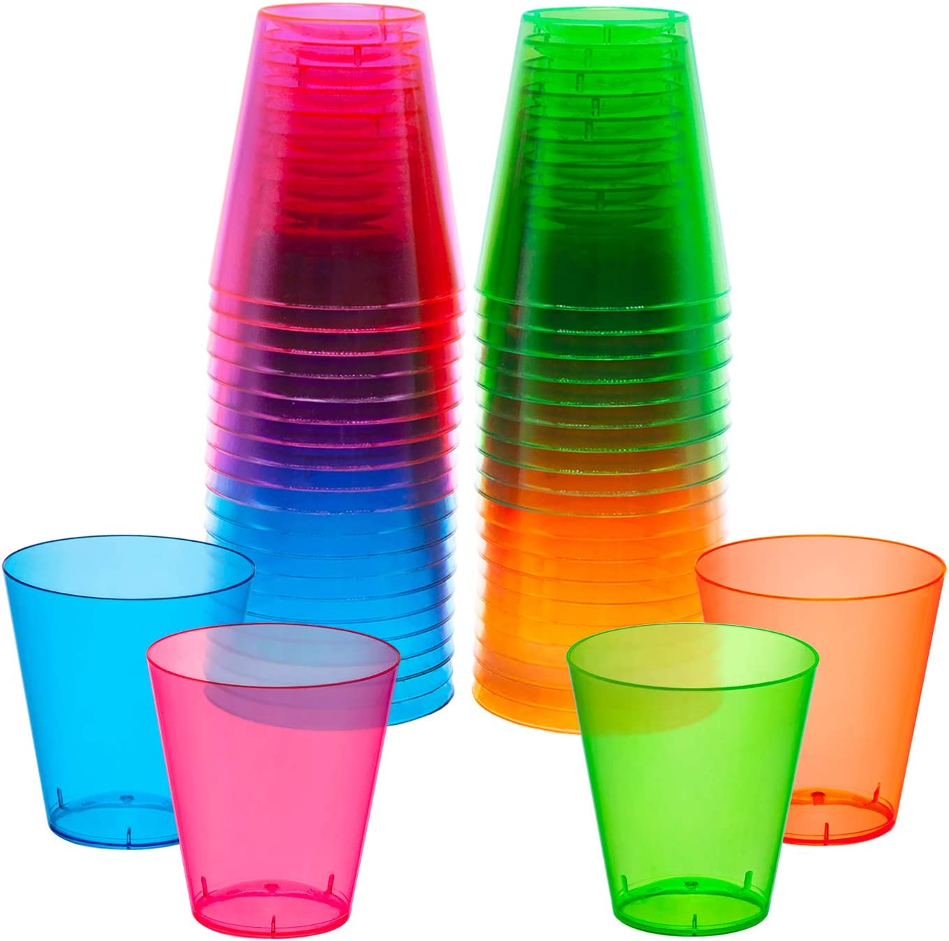 MINI DISPOSABLE COLOR SHOT GLASSES AVAILABLE IN A SET OF 20 OR 120 MINI CUPS! KOLORAE MINI CUPS 120 PERFECT FOR ANY OCCASION 2 OZ ASSORTED COLOR MINI SHOT GLASSES