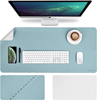 EMINTA Large Desk Pad Protector, 2019 Upgrade Stitched Edge 35.4 x 17Inch PU Leather Desk Mat, Gaming Mouse Pad, Waterproof Desk Blotter Pad, Double Sides Laptop Pad(Light Blue/Sliver)