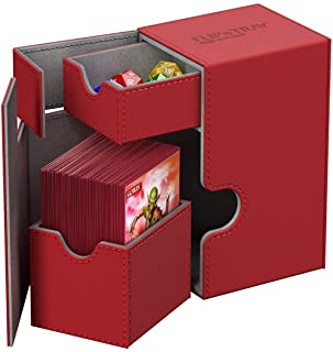 Ultimate Guard 80+ Flip n Tray XenoSkin Deck & Dice Case Protector Red