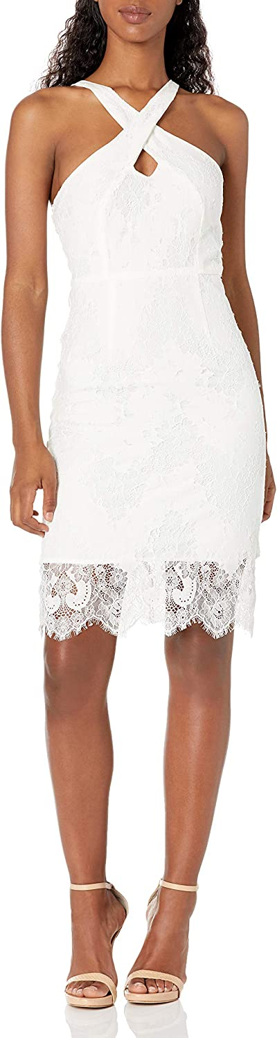 Minuet Women's Fitted Lace Dress with Halter Style Neckline