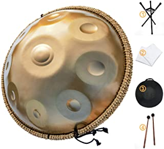AS TEMAN HANDPAN, Handpan drum instrument in D Minor 9 Notes 22 inches Steel Hand Drum with Soft Hand Pan Bag, 2 handpan m...