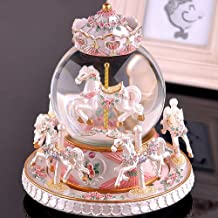 LOHOME Rotate Music Box, Luxury Carousel Crystal Ball Glass Ball Dollhouse Toy with Castle in The Sky Tune Perfect Birthday Gift Valentine's Day