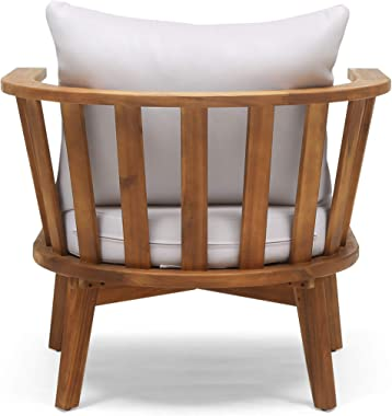 Christopher Knight Home 309123 Dean Outdoor Wooden Club Chair with Cushions, White and Teak Finish