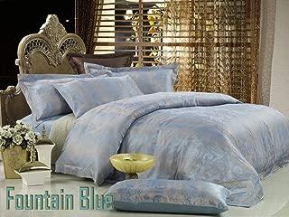 Dolce Mela DM448Q Fountain-Blue 6-Piece Percale Jacquard Cotton Duvet Cover Set, Queen