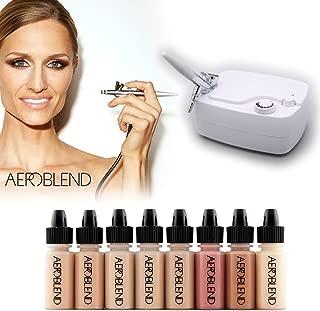 Aeroblend Airbrush Makeup Personal Starter Kit - Professional Cosmetic Airbrush Makeup System - MEDIUM Foundation - Color Match Guarantee