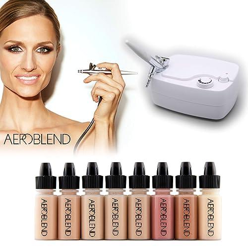 Aeroblend Airbrush Makeup Personal Starter Kit - Professional Cosmetic Airbrush Makeup System - MEDIUM Foundation -