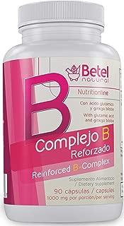B Complex + (Complejo B +) with Ginkgo Biloba Capsules by Betel Natural - Full B Vitamin Spectrum - 90 Capsules