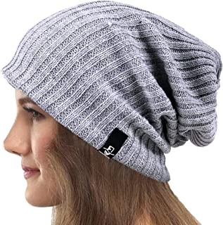 VECRY Womens Knit Slouchy Beanie Ribbed Baggy Skull Cap Turban Winter Summer Beret Hat