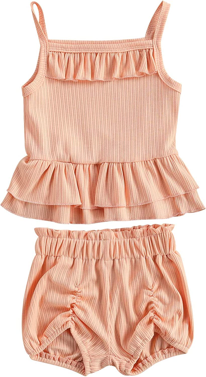 Kayotuas Infant Baby Girl Clothes Ribbed Sleeveless Camisole Top + Bubble Shorts Sets 2 Piece Summer Outfits