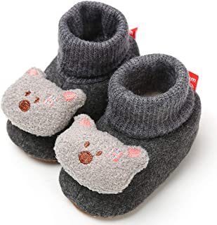 LIVEBOX Newborn Baby Booties, Cute Little Bear Pattern Cotton Warm Winter Infant Prewalker Toddler Snow Boots Crib Shoes for Girls Boys