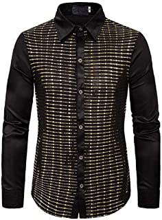 Spirio Mens Long Sleeve Velvet Party Stylish Button Down Slim Dress Shirts