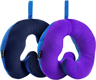 BCOZZY Chin Supporting Patented Travel Pillow - Prevents the head from falling forward in ANY sitting position, providing comfort and support for the neck and head. Adult size, Set of 2 (Navy + Purple)