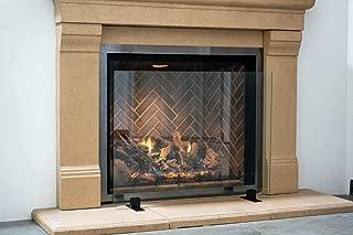 Manhattan Modern Free Standing Glass Fireplace Screen (Clear, Black Feet) Small (36