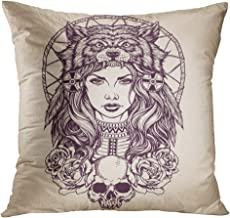TOMKEYS Throw Pillow Cover Red Tattoo Native American Girl with Wolf Headdress Lineart Indian Woman Decorative Pillow Case Home Decor Square 20x20 Inches Pillowcase