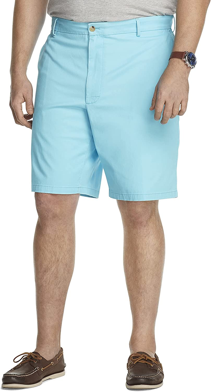 IZOD Men's Big Tall Saltwater Max 67% OFF Chino Flat Max 78% OFF Short Front 9.5