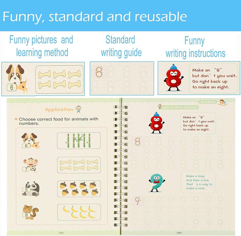 Preschoolers /& Kindergarten Kids Ages 3-6 Number /& Letter Tracing Books Drawing /& Math Practice Books Print Handwriting Workbook for Beginners Sank Magic Practice Copybook for Kids Reusable