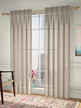 Curtain Label Set of 2- Curtain Label Vegas Linen Look Sheer American Pleat Curtain (Cream, 2.5 X 7 feet (W X H))