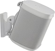 Sanus Wireless Speaker Wall Mount Sonos ONE, ONE SL, Play:1, Play:3 - Tool Free Tilt & Swivel Adjustments for Best Audio - Single (White) - WSWM21-W1