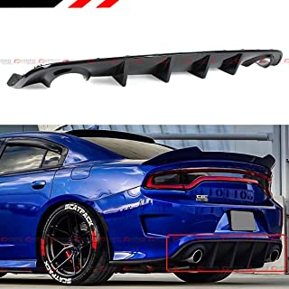For 2015-2019 Dodge Charger SRT Hellcat Scat Pack Shark Fin Rear Bumper Diffuser Painted Glossy Black Finish