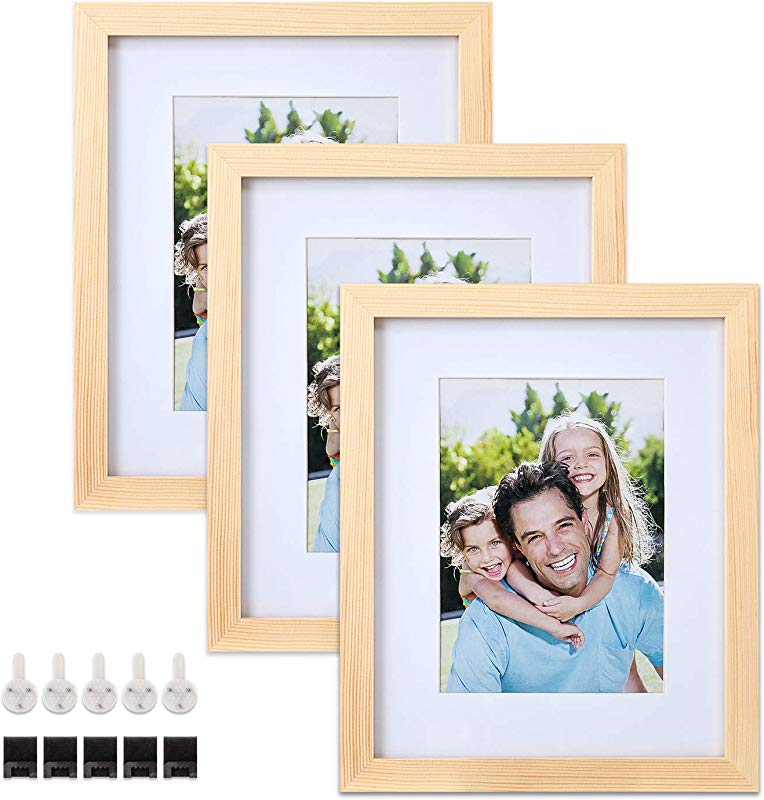 Sindcom 8x10 Solid Wood Picture Frames 3 Pack Photo Frame Set With Mat And Glass Cover Natural Wood Color Mounting Hardware Included For Wall Or Tabletop Display