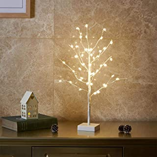 Vanthylit 2FT Pre-lit White Tree 45LT Warm White Fairy Light with Star Covered Decorations for Home Party Wedding