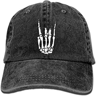 Baseball Cap for Men Women, Rock N Roll Skeleton Hand Unisex Cotton Adjustable Denim Cap Hat
