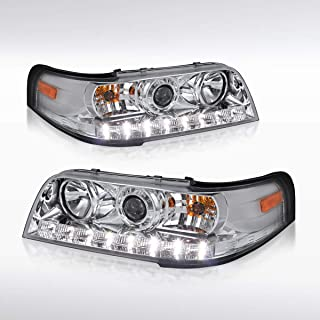 Autozensation For Ford Crown Victoria LX Base Chrome Clear SMD LED Projector Headlights Pair