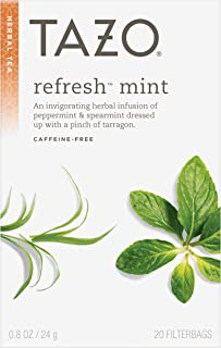 Tazo Refresh Mint Herbal Tea Filterbags , 20 Count (Pack of 6)