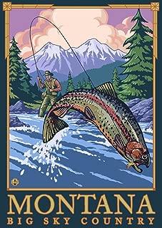 Montana - Big Sky Country - Fly Fishing Scene (12x18 Art Print, Wall Decor Travel Poster)