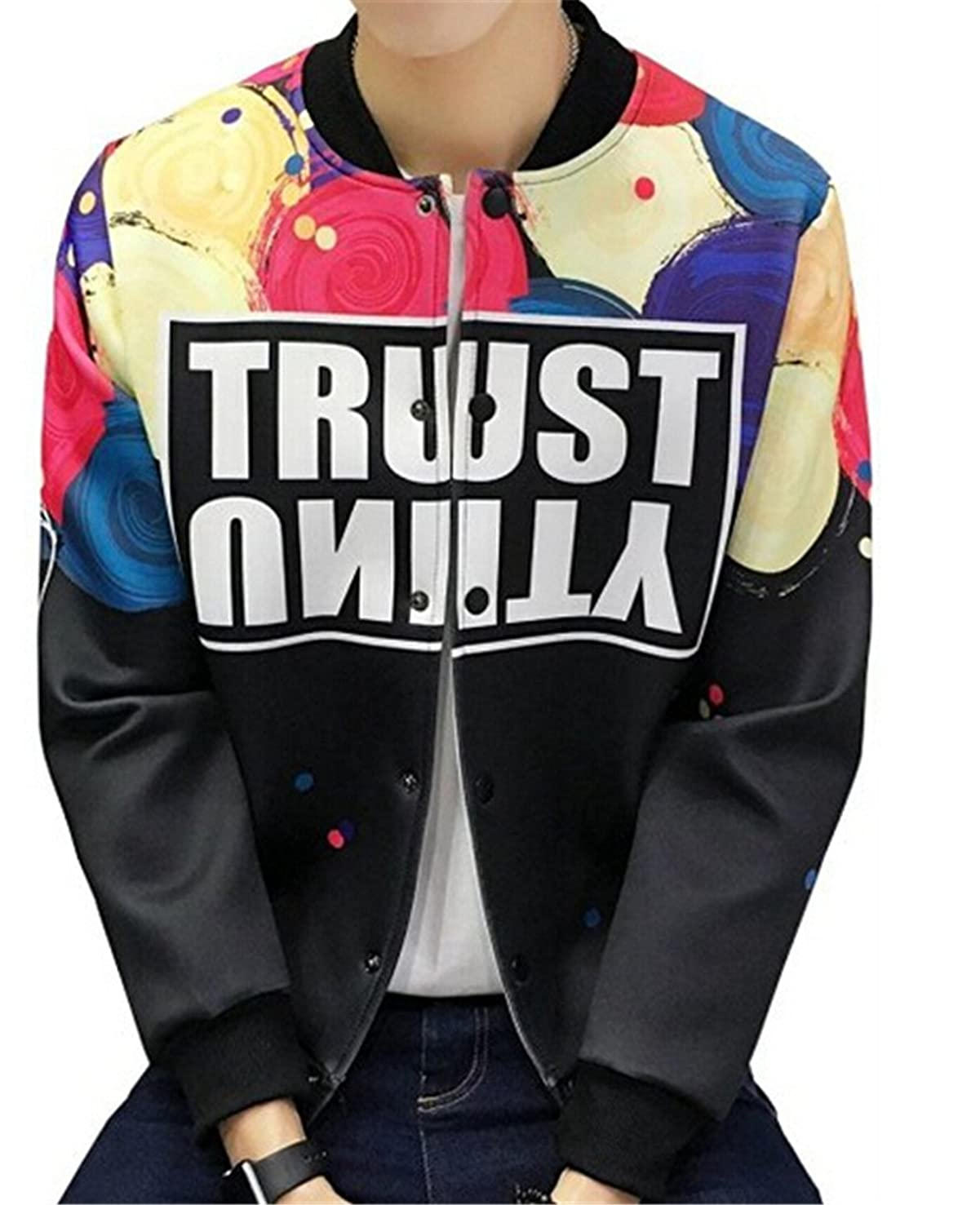 Uideazone Men 3d Printed Graphic Coat Cool Baseball Jackets Black