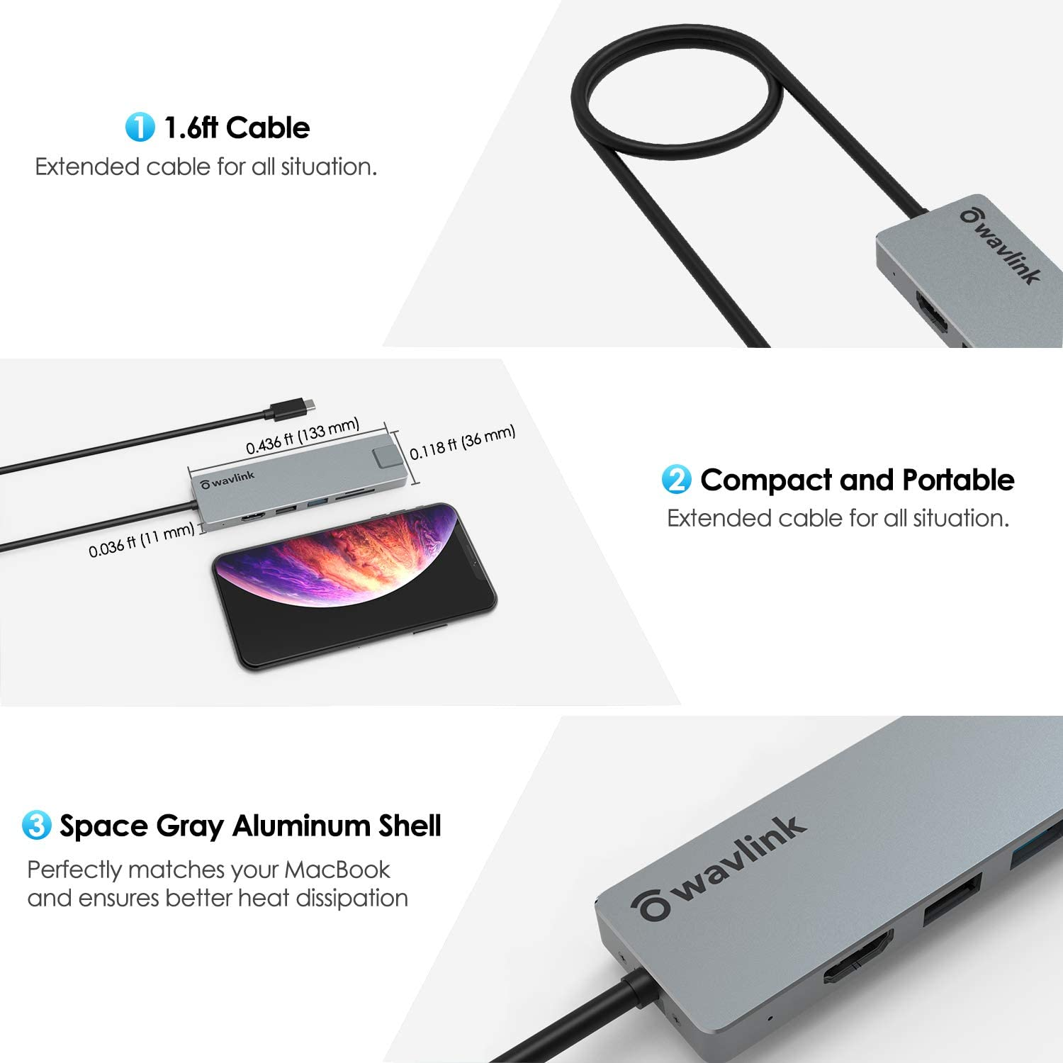USB C 4K HDMI Adapter,WAVLINK Hub Multiport Adapter with 100W PD Power, USB 3.0, USB 2.0, RJ45 Gigibit Ethernet, SD/TF Card Reader Compatible for MacBook Pro, XPS More Type C Devices