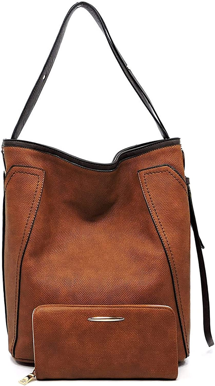 New  Le Miel Textured Zip Bucket Tote w Strap + Wallet Brown
