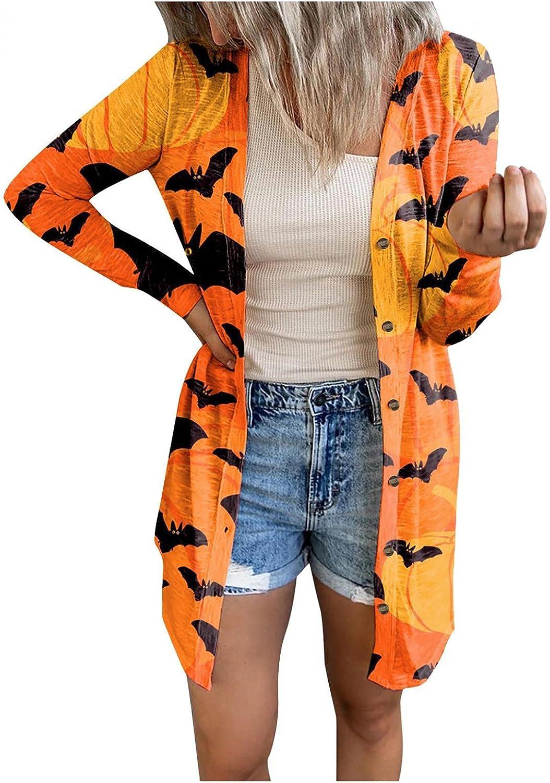 Xinantime Women's Open Front Cardigan Halloween Printed Long Blouse Ladies Outwear Trendy Sweater Button Down Shirt