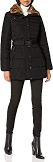 Women's Belted Puffer Coat with Faux Fur Collar