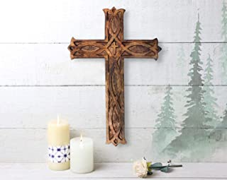 """Wooden Celtic Cross 10""""x 6"""" Long Wall Hanging French Cross Plaque Hand Carved Antique Design Religious Altar Home Living Room Décor Accessory"""