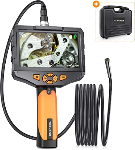 Teslong Industrial Endoscope with 4.5inch Screen, Borescope Inspection Camera with Waterproof Mental Gooseneck Probe,...