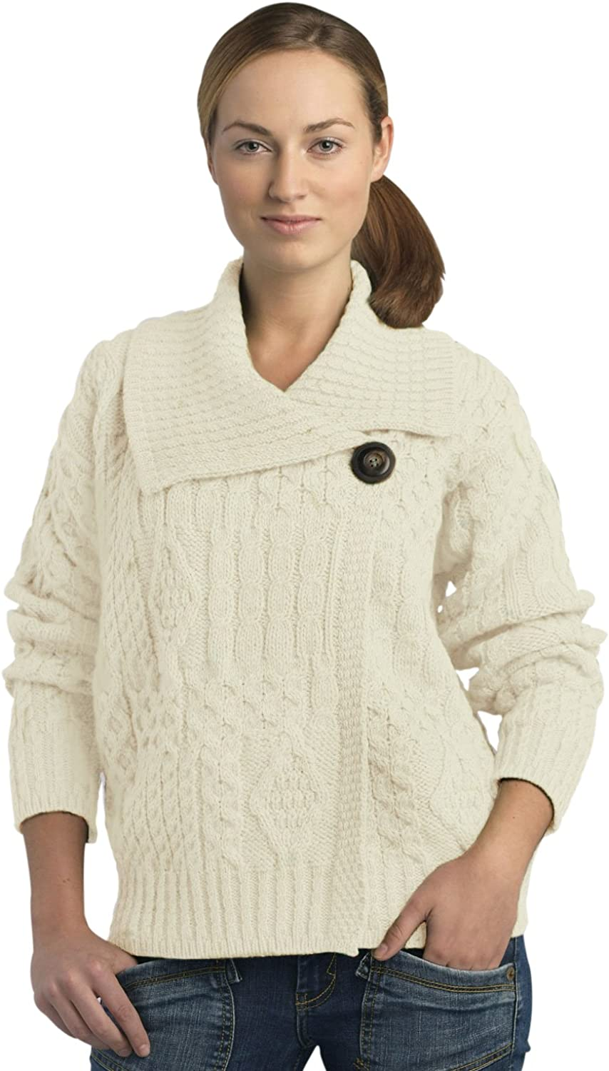 100% Soft Irish Merino Wool One Button Aran Ladies Sweater by West End Knitwear (Small, Natural)