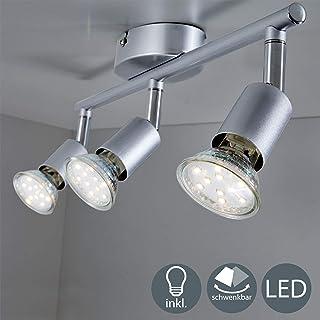 B.K.Licht - Lámpara de techo con 3 Focos LED GU10, focos ajustables y giratorios para interiores, de luz blanca cálida, 3W y 250 lúmenes, 3000K, forma recta en barra, color plata