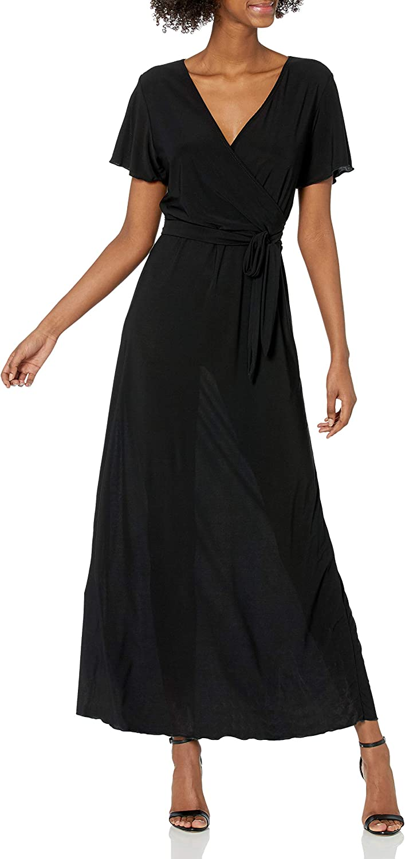 Star Vixen Women's Short-Sleeve Faux-Wrap Maxi Dress