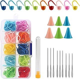 LIAHO 段数マーカー 棒針キャップ とじ針 135点セット 編み目メーカー カラフル 編み物 ケース付き