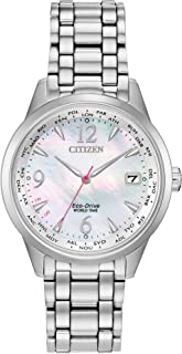Women's World Time Perpetual Calendar Quartz Watch with Stainless Steel Strap, Silver, 17 (Model: FC8000-55D)