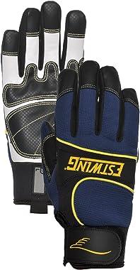 Estwing EST7795L Premium Hi-Dexterity Work Glove Aramid Fiber Stitching White/Black Goatskin Re-Reinforced Palm, Large, Blue