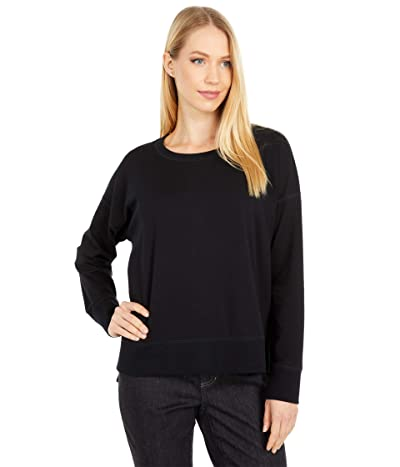 Eileen Fisher Organic Cotton Stretch Jersey Crew Neck Top Hi-Low Top (Black) Women