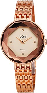 Burgi Hexagonal Dial Faceted Crystal Lens Women's Watch – 4 Genuine Diamond Markers with Solid Stainless Steel Link Bracelet Butterfly Buckle - BUR253