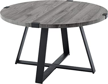 Walker Edison Anastiasia Modern Metal Wrap X Base Coffee Table, 30 Inch, Grey