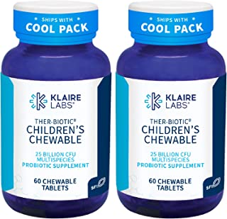 Klaire Labs Ther-Biotic Children's Chewable Probiotic - 25 Billion CFU Lactobacillus + Bifidobacterium - Hypoallergenic Da...
