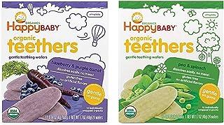 Happy Baby Organic Teethers Gentle Teething Wafers 2 Flavor Sampler Bundle: (1) Pea & Spinach Teething Wafers, and (1) Blu...